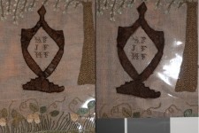 Detail of sampler and loss of embroidery yarns: before treatment on the left, after treatment on the right