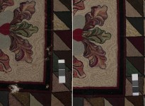 Detail of loss in a rug: before treatment on the left, after treatment on the right