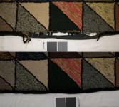 Detail of loss in rug at the edge: before treatment on the top, after treatment on the bottom