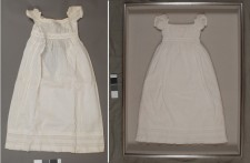 Christening gown: before treatment on the left, after treatment on the right in a shadowbox