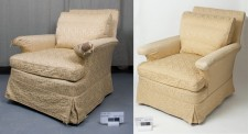 Upholstery: before treatment on the left, after treatment on the right