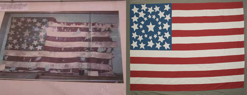 Reproduction: original flag on display in an older photograph on the left; reproduction on the right